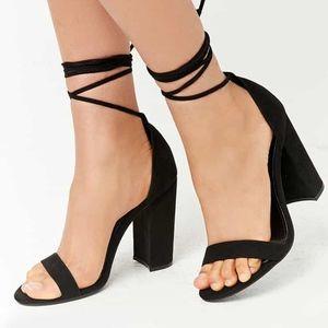 Faux Suede Wrap Around Heels
